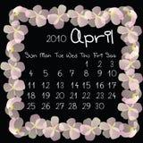 Kalender, April 2010 stockfoto