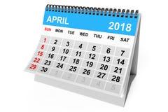 Kalender April 2018 het 3d teruggeven Royalty-vrije Stock Afbeeldingen