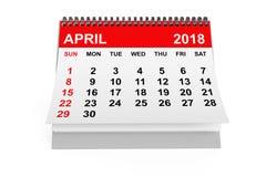 Kalender April 2018 het 3d teruggeven Stock Foto's