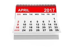 Kalender April 2017 het 3d teruggeven Royalty-vrije Stock Afbeeldingen