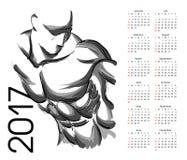 Kalender 2017 atleet stock illustratie