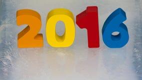 Kalender 2016 auf dem Eis Stockbilder