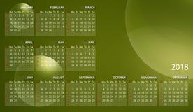 Kalender 2018 auf englisch Wochenanfänge am Sonntag Blasen auf gelbgrünem Hintergrund stock abbildung