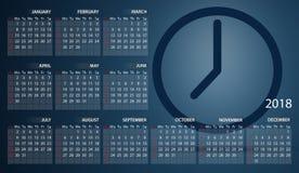 Kalender 2018 auf englisch Wochenanfänge am Sonntag Borduhr timer lizenzfreie abbildung