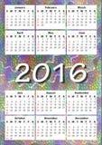 Kalender 2016 auf Regenbogenmosaikhintergrund Lizenzfreie Stockfotos