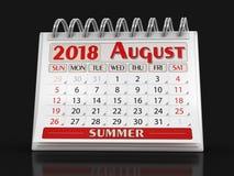 Kalender - August 2018 Lizenzfreie Stockbilder