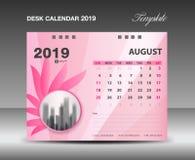 Kalender 2019, AUGUST Month, het Malplaatje vectorontwerp van de Bureaukalender, roze bloemconcept royalty-vrije illustratie