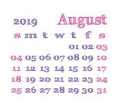 Kalender 2019 August Vector-malplaatje Engelse kalender Week s vector illustratie