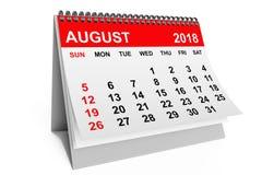 Kalender Augustus 2018 het 3d teruggeven Royalty-vrije Stock Afbeeldingen