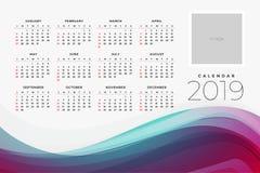 kalender 2019 av den yar designmallen royaltyfri illustrationer