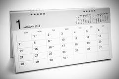 Kalender av Januari 2018 bakgrund Royaltyfria Foton