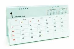 Kalender av Januari 2018 bakgrund Arkivbild
