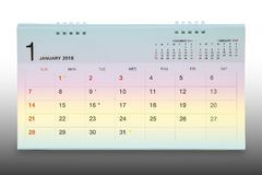Kalender av Januari 2018 bakgrund Arkivbilder