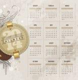 Kalender av 2014 med tappningetiketter Fotografering för Bildbyråer