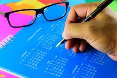 Kalender av 2016 på blå bakgrund Royaltyfri Bild