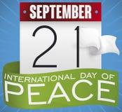 Kalender, band och vit flagga för internationell dag av fred, vektorillustration Royaltyfri Illustrationer