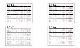 Kalender 2015 bis 2018 Stockbilder