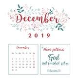 Kalender 2019, Blumenentwurf stockbilder