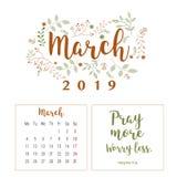 Kalender 2019, Blumenentwurf lizenzfreies stockfoto