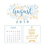 Kalender 2019, Blumenentwurf lizenzfreies stockbild