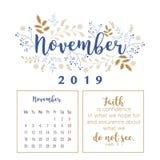 Kalender 2019, Blumenentwurf stockbild