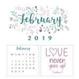 Kalender 2019, Blumenentwurf lizenzfreie stockfotos