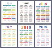 Kalender 2019 Bunter Satz Wochenanfänge am Sonntag Grundraster stock abbildung