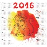 kalender 2016 j hrig vom affen chinesisches sternzeichen vektor abbildung bild 54362730. Black Bedroom Furniture Sets. Home Design Ideas