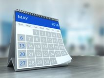 Kalender 3d auf Tabelle Lizenzfreies Stockfoto