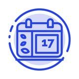 Kalender dag, datum, Irland blå prickig linje linje symbol royaltyfri illustrationer