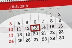 Kalender dag, månad, affär, begrepp, dagbok, stopptid, stadsplanerare, statlig ferie, tabell, färgillustration, 2018, juni 13 Arkivfoton