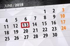 Kalender dag, månad, affär, begrepp, dagbok, stopptid, stadsplanerare, statlig ferie, tabell, färgillustration, 2018, juni 13 Royaltyfri Foto