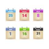 Kalender-Daten-Seiten-Sammlungs-traditionelle Feiertags-hauptsächlichtage eingestellt Stockbild