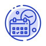 Kalender datum, dag, Tid, blå prickig linje linje symbol för jobb stock illustrationer