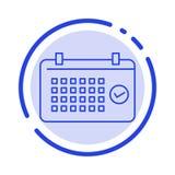 Kalender datum, månad, år, Tid blå prickig linje linje symbol royaltyfri illustrationer