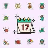 Kalender 17, datumsymbol Universell upps?ttning f?r StPatricks dagsymboler f?r reng?ringsduk och mobil vektor illustrationer