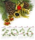 Kalender 2016 De decoratie van Kerstmis Stock Fotografie