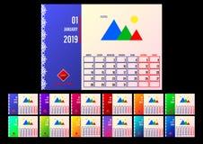 Kalender 2019 De lay-out van 12 pagina's tegen maanden stock illustratie