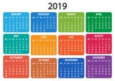 Kalender 2019 De week begint van Maandag Vector illustratie stock illustratie