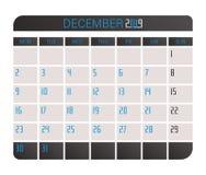 Kalender 2019 December royaltyfri illustrationer
