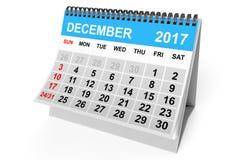 Kalender december 2017 het 3d teruggeven Royalty-vrije Stock Afbeelding