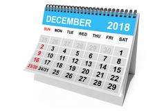 Kalender December 2018 het 3d teruggeven vector illustratie