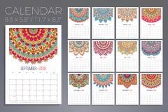 Kalender 2018 dekorativ elementtappning Orientalisk modell, vektorillustration stock illustrationer