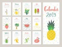 Kalender 2019 Den gulliga månatliga kalendern med livsstil anmärker, bär frukt, och växter royaltyfri illustrationer