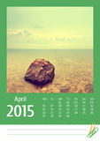 Kalender des Fotos Print2015 april Stockbild