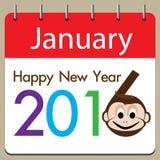 Kalender des guten Rutsch ins Neue Jahr auf braunem Hintergrund Stockbild