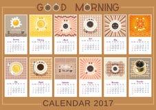 Kalender des gutenmorgens Stockfoto