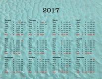 Kalender des Jahres 2017 - die Vereinigten Staaten von Amerika mit Meer-backgroun Stockfoto