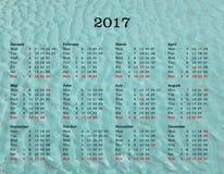 Kalender des Jahres 2017 - Vereinigtes Königreich mit Seehintergrund Lizenzfreie Stockfotos