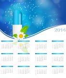 Kalender des neuen Jahres 2014 im medizinischen Artvektor Stockbild